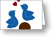 Tree Drawings Greeting Cards - Blue Birds Greeting Card by Frank Tschakert