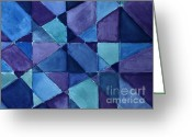 Purples Greeting Cards - Blue Blanket Quilt Greeting Card by Marsha Heiken