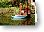 Row Boat Mixed Media Greeting Cards - Blue Boat Greeting Card by Nick Diemel