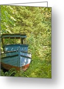 Minard Greeting Cards - Blue Boat Greeting Card by Vern Minard