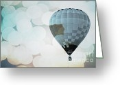 Baby Room Greeting Cards - Blue Bokeh Balloon Greeting Card by Andrea Hazel Ihlefeld