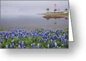 Blue Bonnets Greeting Cards - Blue Bonnets on a Beach with Lighthouse Greeting Card by Jeremy Woodhouse