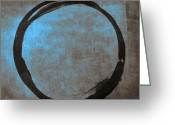 Gallery Print Greeting Cards - Blue Brown Enso Greeting Card by Julie Niemela
