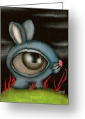 Alice In Wonderland Painting Greeting Cards - Blue Bunny Greeting Card by  Abril Andrade Griffith