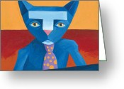 Business Painting Greeting Cards - Blue Business Cat Greeting Card by Mike Lawrence