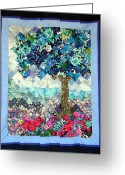 Blues Tapestries - Textiles Greeting Cards - Blue Butterfly Tree Greeting Card by Sarah Hornsby