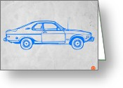 Kids Greeting Cards - Blue car Greeting Card by Irina  March