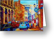 Resto Cafes Greeting Cards - Blue Cars at the Resto Bar Greeting Card by Carole Spandau