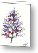 Holiday Notecard Greeting Cards - Blue Christmas Tree Greeting Card by Michele Hollister - for Nancy Asbell