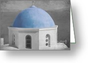 Selective Color Greeting Cards - Blue Church Dome Greeting Card by Sophie Vigneault