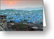 India Greeting Cards - Blue City At Sunset Greeting Card by Massimo Calmonte (www.massimocalmonte.it)