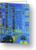 Chicago Artist Greeting Cards - Blue City Blues Greeting Card by J Loren Reedy