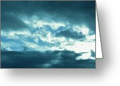Pdx Art Greeting Cards - Blue Clouds Greeting Card by Cathie Tyler