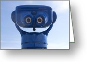 Coin Greeting Cards - Blue coin-operated binoculars Greeting Card by Bernard Jaubert