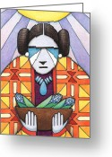Mother Earth Drawings Greeting Cards - Blue Corn Woman Greeting Card by Amy S Turner