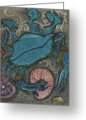 Beach Pastels Greeting Cards - Blue Crab Greeting Card by Stu Hanson