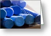 Oil Pastel Greeting Cards - Blue crayons Greeting Card by Frank Tschakert