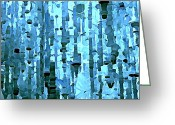 Jewels Digital Art Greeting Cards - Blue Crystals Greeting Card by Mindy Newman