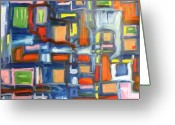Vibe Painting Greeting Cards - Blue Cube Greeting Card by Alfredo Dane Llana