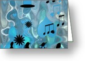 Flowers Greeting Cards - Blue Dance Greeting Card by Ben and Raisa Gertsberg