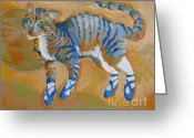 Pajamas Greeting Cards - Blue Dance Cat Greeting Card by Vanessa Hadady BFA MA