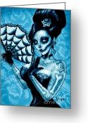 Tattoo Greeting Cards - Blue Death Art Print Greeting Card by Screaming Demons