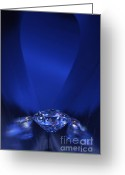 Illuminated Glass Greeting Cards - Blue Diamond In Blue Light Greeting Card by Atiketta Sangasaeng