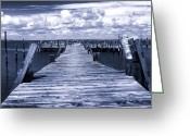 Long Beach Island Photos Greeting Cards - Blue Dock at LBI Greeting Card by John Rizzuto