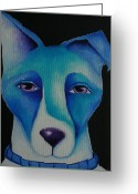 Deb Harvey Greeting Cards - Blue Dog Greeting Card by Deb Harvey