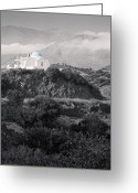 Crete Greeting Cards - Blue-domed Church in the Mountains Greeting Card by Royce Howland