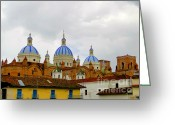 Imported Greeting Cards - Blue Domes of Cuenca Greeting Card by Al Bourassa
