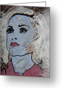Photographer Drawings Greeting Cards - Blue Donna Greeting Card by Marwan George Khoury