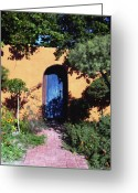 Old Doors Greeting Cards - Blue door at Old Mesilla Greeting Card by Kurt Van Wagner