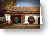 San Juan Bautista Greeting Cards - Blue Door at San Juan Bautista Greeting Card by Laura Iverson