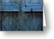 Neglected Greeting Cards - Blue door Greeting Card by Bernard Jaubert