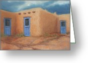 Taos Pueblo Greeting Cards - Blue Doors in Taos Greeting Card by Jerry McElroy