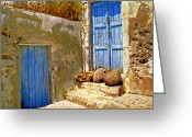 Blue Cobblestone Greeting Cards - Blue Doors Of Santorini Greeting Card by Madeline Ellis