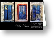 Peeling Paint Greeting Cards - Blue Doors Of Santorini Greeting Card by Meirion Matthias