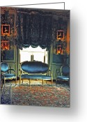 Wood Floor Greeting Cards - Blue Drawing Room Greeting Card by DigiArt Diaries by Vicky Browning