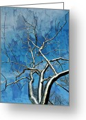 Office Pyrography Greeting Cards - Blue Dream Greeting Card by Marty Koch