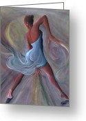 Black Art Greeting Cards - Blue Dress Greeting Card by Ikahl Beckford