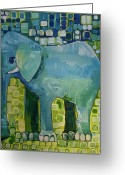Happy Colors Greeting Cards - Blue Elephant Greeting Card by Donna Howard