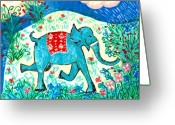 Sue Burgess Ceramics Greeting Cards - Blue elephant facing right Greeting Card by Sushila Burgess