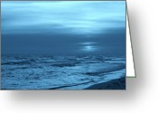 Panama City Beach Greeting Cards - Blue Evening Greeting Card by Sandy Keeton