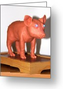 Blue Sculpture Greeting Cards - Blue Eye PIGture Greeting Card by Yelena Rubin