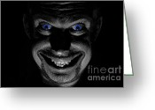 Portraits Photo Greeting Cards - Blue eyed demon Greeting Card by Guy Viner