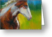 Signed Greeting Cards - Blue-eyed Paint Horse oil painting print Greeting Card by Svetlana Novikova
