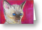 Kitten Pastels Greeting Cards - Blue Eyes Greeting Card by MaryAnn Ceballos