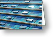 Finance Greeting Cards - Blue Facade Greeting Card by Carlos Caetano