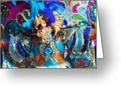 Sharp Teeth Greeting Cards - Blue Feather Carnival Costume and Colorful Background Horizontal Greeting Card by Heather Kirk